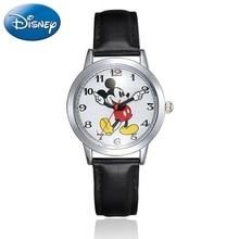 Montre à Quartz pour enfants Disney, bracelet en cuir, montre Mickey Mouse, horloge pour garçons et filles, cadeau dadolescents