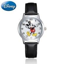 Original Disney Teen Leather Quartz Children Fashion Watches Kids Mickey Mouse S