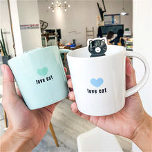 Korean Cat Coffee Cup Ceramic Cute Milk Juice Cups Restaurant Student Mugs Heat-resistant Cup with Lid Travel Tea Water Mug Gift(China)