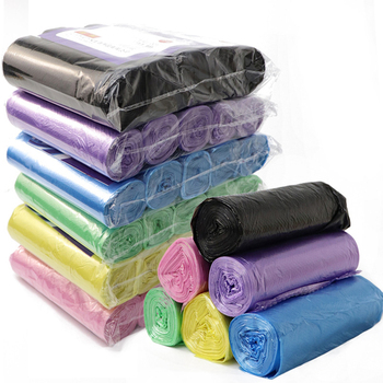 100PCS/5 Rolls Quality Black Purple Green Blue Thicken Garbage Bags Vest Style Storage Bag For Kitchen Home Bath Waste Trash Bag image