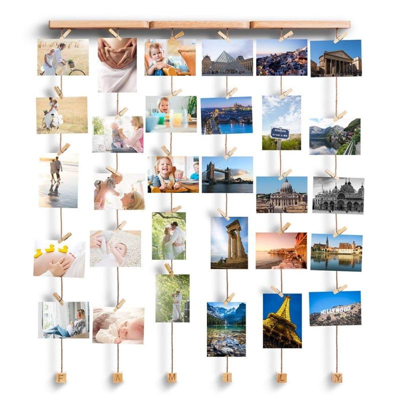 Photo décoration Photo cadre Photo Collection fait à la main en bois coton corde suspendus ornement carte postale famille lanière