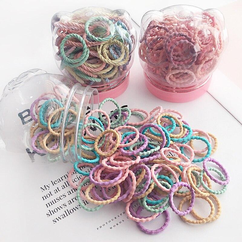 50/100 pcs/boîte nouveaux enfants mignon couleurs doux élastique bandes de cheveux bébé filles belle chouchous élastiques enfants cheveux accessoires
