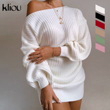 Kliou dzianina Off Shoulder jesienne zimowe swetry Streetwear modny lampion rękaw stałe swetry zwykły sweter gorąca sprzedaży