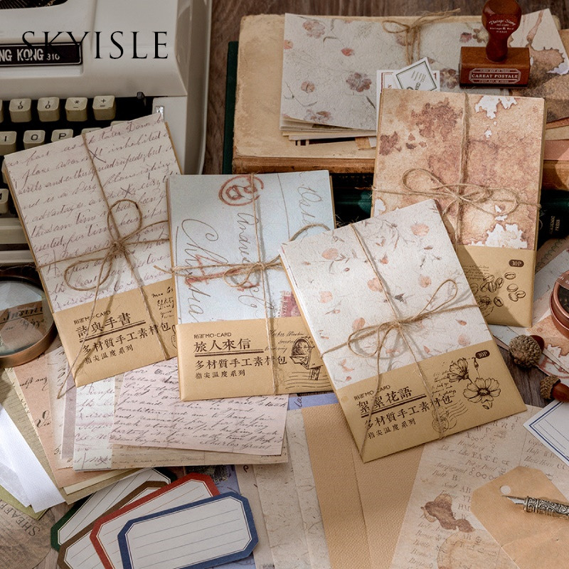 SKYISLE Vintage Style Handbook Mixed Material Handmade Material Pack can be collaged non-sticky sticky paper decorative backgrou