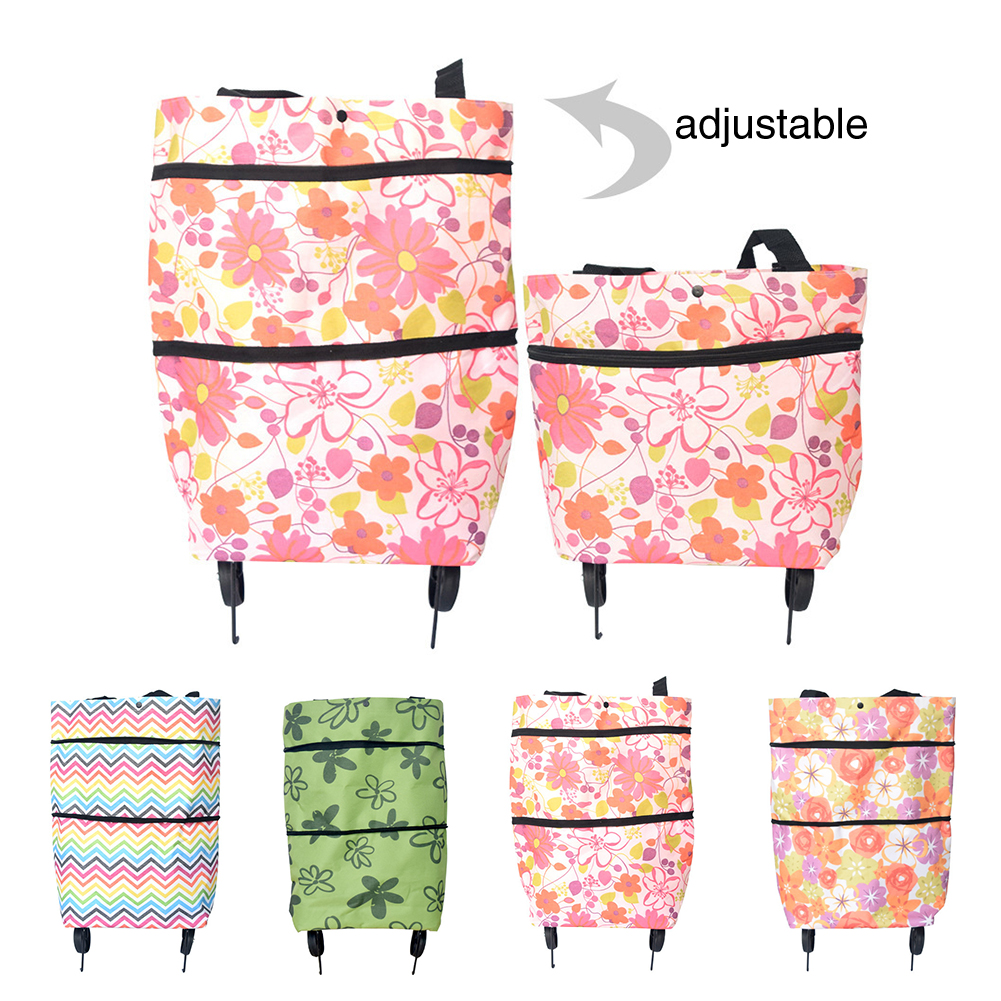 Oxford Cloth Reusable Lightweight Trolley Shopping Bag Portable Fashion Cart Eco-friendly Home Folding Large Capacity On Wheels