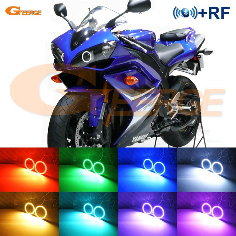 For Yamaha R1 YZF-R1 2004 2005 2006 2007 2008 Excellent RF Bluetooth APP Multi-Color Ultra bright RGB LED Angel Eyes Halo Ring