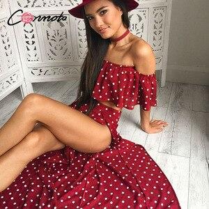 Image 3 - Conmoto Women Off Shoulder Red Vintage Dot Long Dress Summer Maxi Dress Chiffon Ruffle Sexy Beach Dresses Vestidos