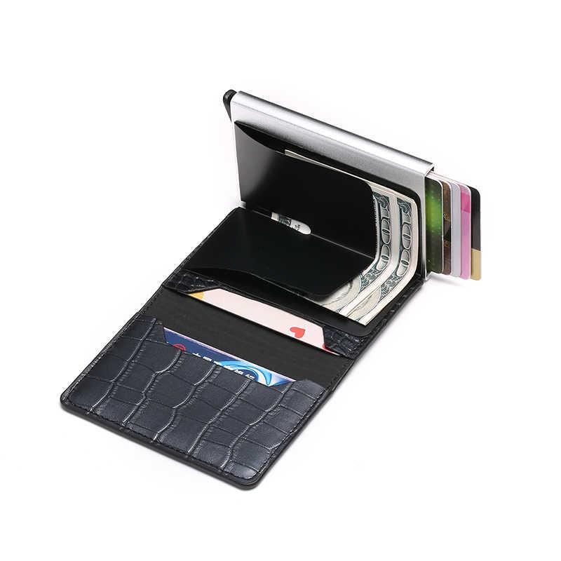 BISI GORO 2020 crédit porte-carte hommes et femmes en métal RFID Vintage boîte en Aluminium cheval fou en cuir PU mode carte portefeuille