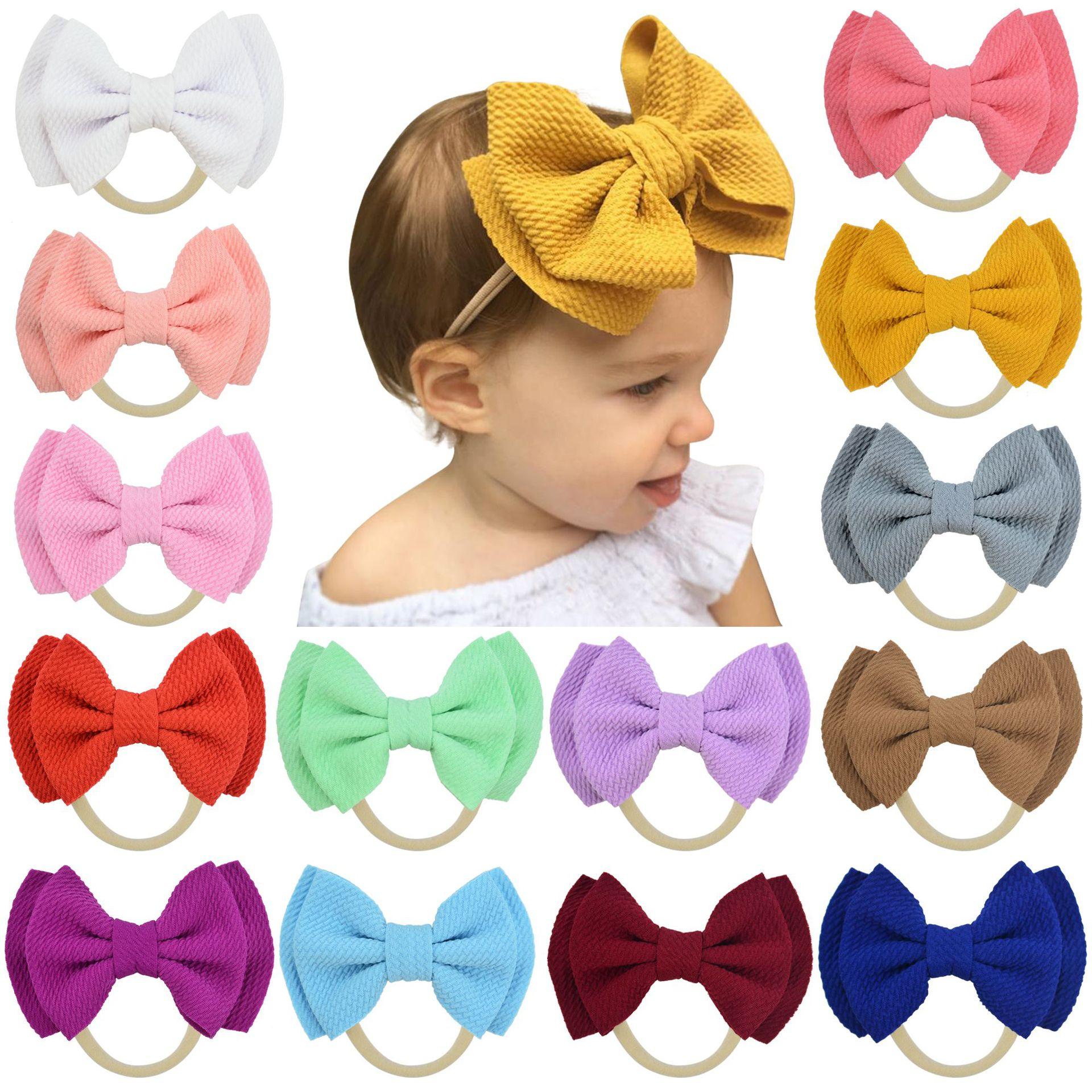 2019 New Baby Headband Baby Girl Headbands For Girls Turban Baby Haarbandjes Baby Bows Headband Nylon Bow Hair Accessories