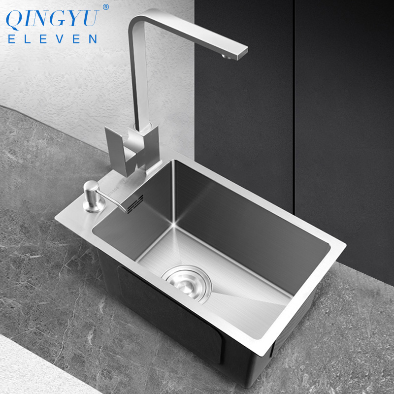 Small Size Sink 304 Stainless Steel 3mm Thickness Mini Manual Above Counter Sink Single Bar Counter Balcony Kitchen Small Sink