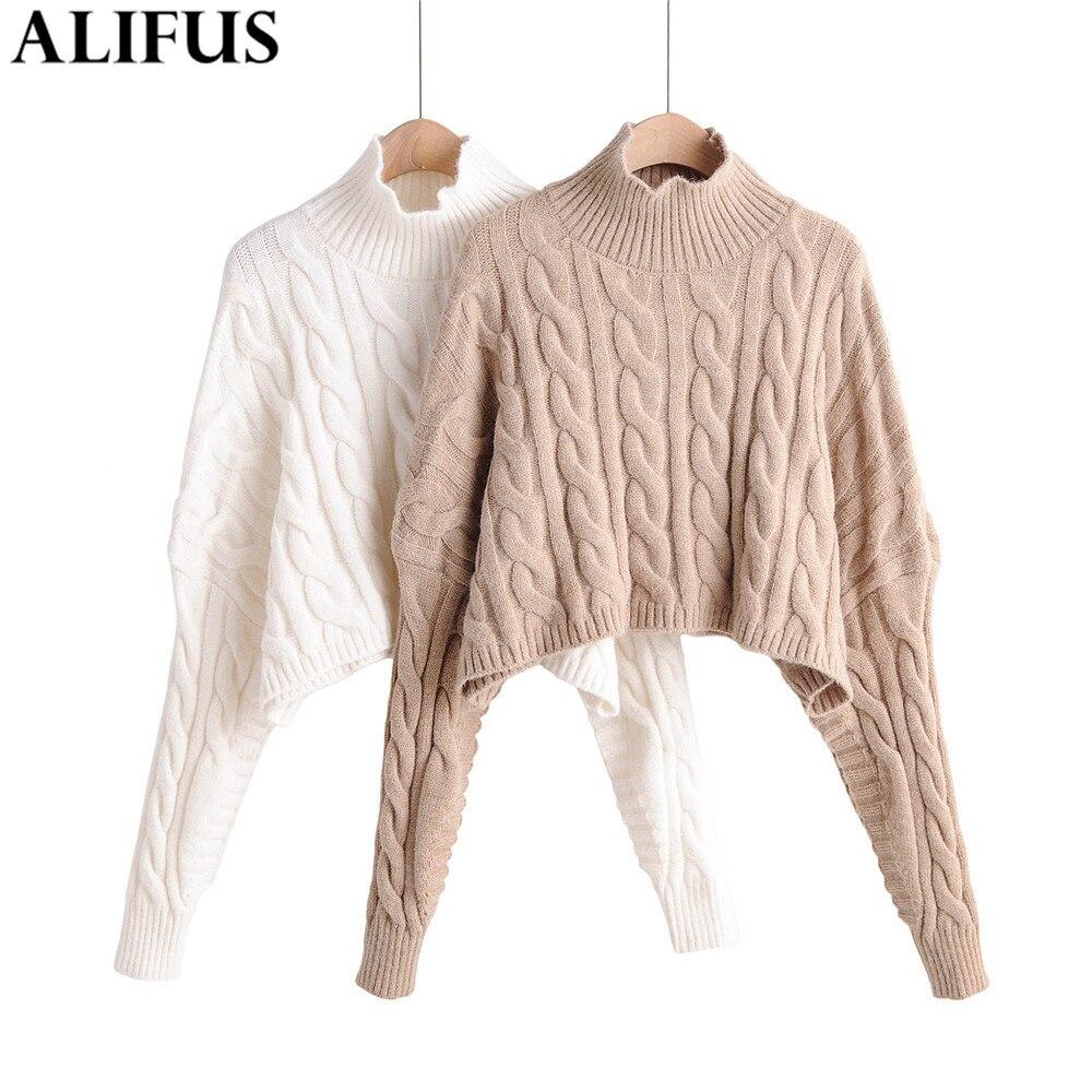 Fashion Za Women Sweaters 2019 Winter Woman Turtleneck Sweater Causal Long Sleeve Loose Knit Pullovers Jumper Ladies Tops