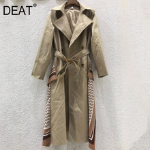 DEAT Leisure Turn Down Collar Wide Waisted Double Breasted Full Sleeve Women Loose Trench