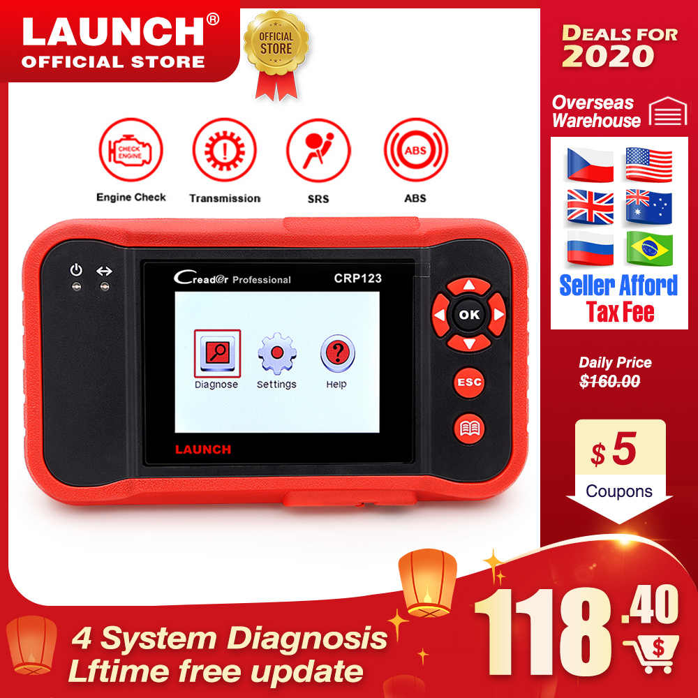 LAUNCH CRP123 Professional obd2 Car Diagnostic Tool  OBDII code reader scanner CRP 123 test Engine ABS Airbag Transmission