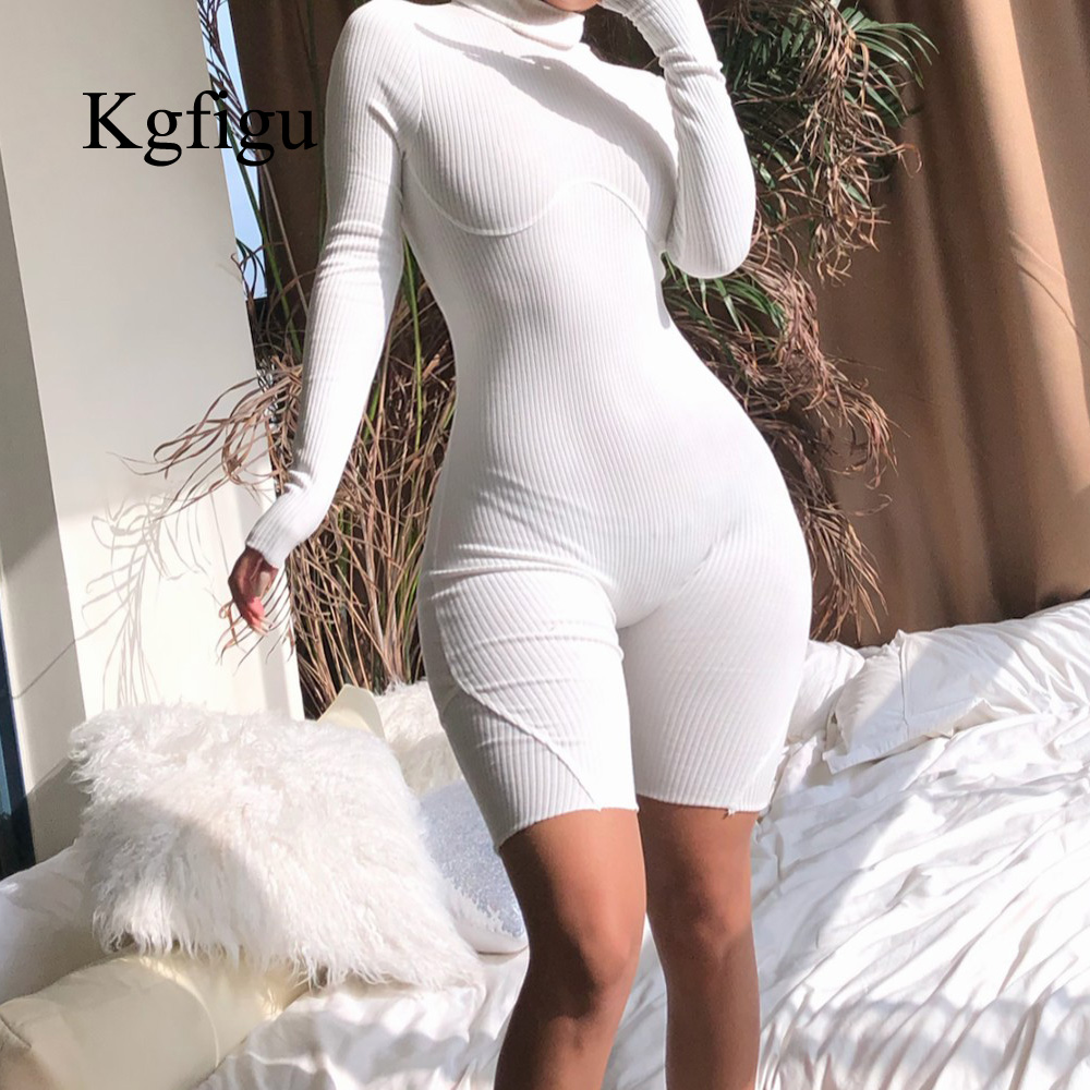 KGFIGU Women One Piece Rib Playsuits Autumn Winter Long Sleeve Jumpsuits Romper Overalls Sexy Solid White Turtleneck Clothes