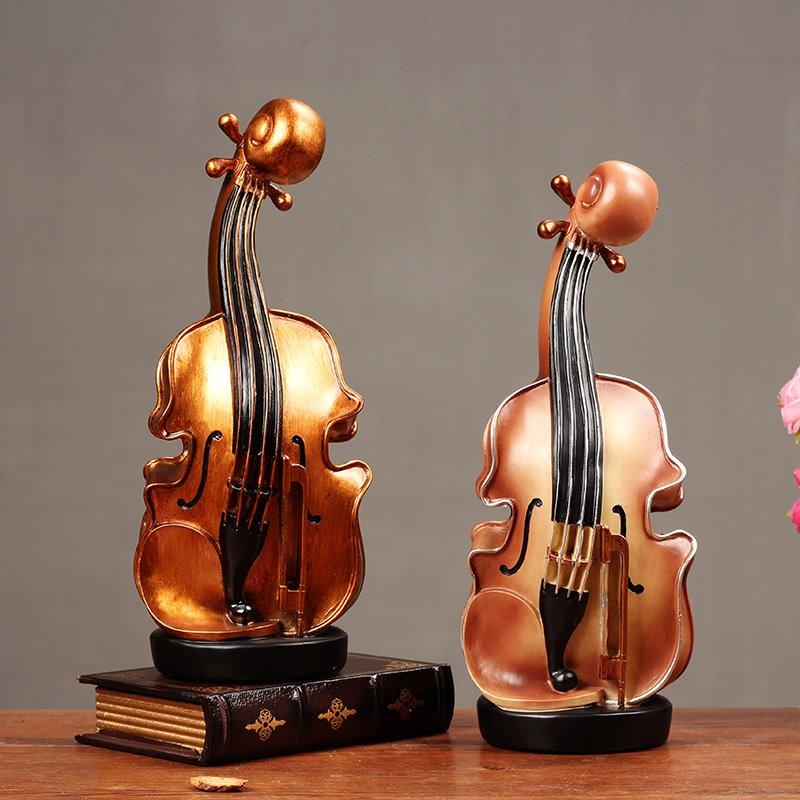 Vintage européen violon tirelire maison résine artisanat ornements tirelire banque de pièces affichage de caisse décorations pour la maison R2589