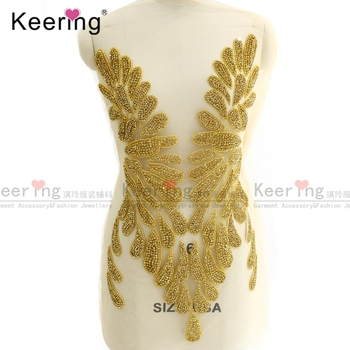 Sexy star with design 100% hand-made rhinestone bodice applique for dress patch. WDP-129