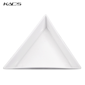 KADS 1pc empty Rhinestone Storage Plate 7cm White Triangles for Collection and Convey Rhinestone Manicure Convenient Tool image