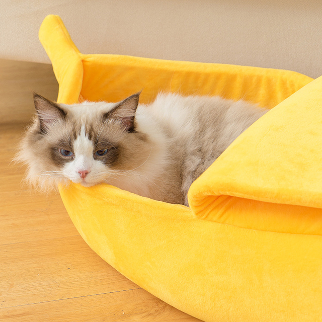 Funny Banana Cat Bed House Cute Cozy Cat Mat Beds Warm Durable Portable Pet Basket Kennel