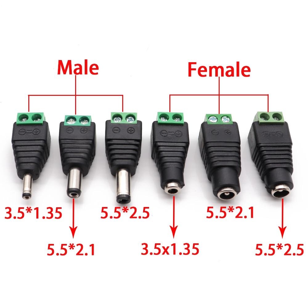 2 pces macho e fêmea plugue de alimentação dc 5.5x2.1mm 5.5*2.5mm 3.5*1.35mm 12 v 24 v jack adaptador conector cctv 5.5x2.1 2.5 1.35