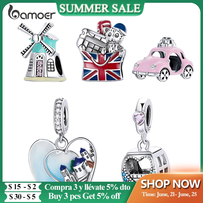 bamoer 925 Sterling Silver Travel London Charm Pink Cable Car Windmill Zirconia Heart Beads for Women Bracelet Jewelry SCC1738