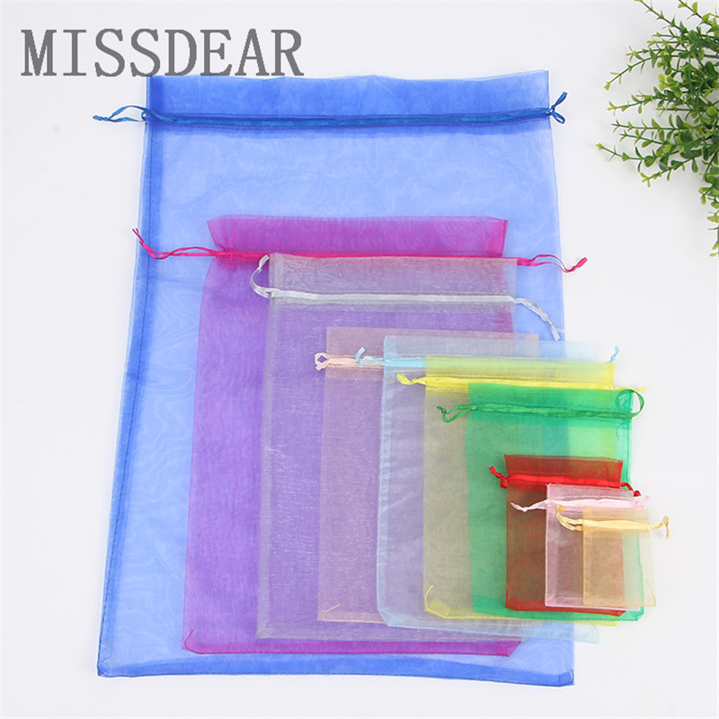 10pcs/lot 13x18 15x20 20x30cm Organza Gift Bag Cosmetics Jewelry Packaging Bags Pouches Candy Toys Packing Bags