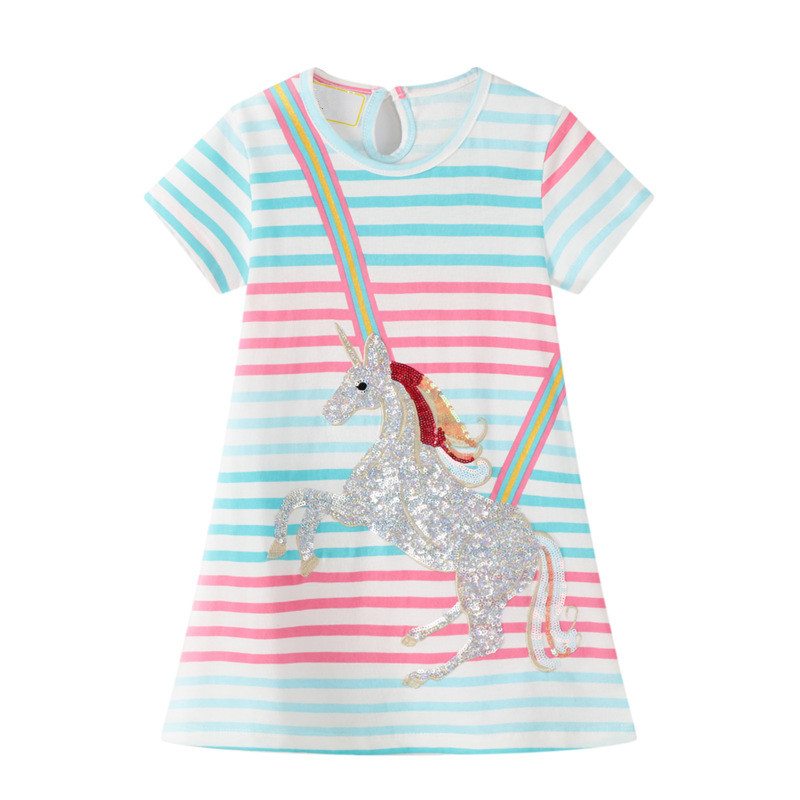 VIDMID girls short sleeve dresses girls cotton clothes summer floral dresses kids casual appliques striped dresses clothing W01 2