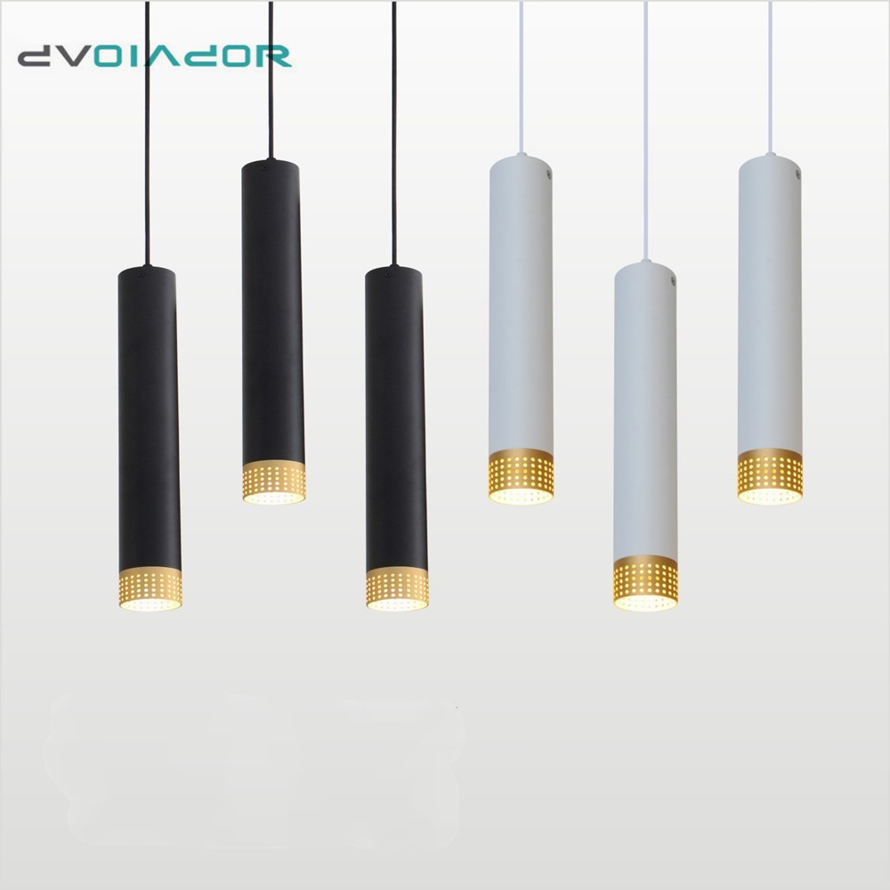 Dimmable Pendant Lights Long Tube Lamp Kitchen Island Dining Room Shop Bar Hanging Lamp Cylinder Pipe Pendant Lamp Decor Light
