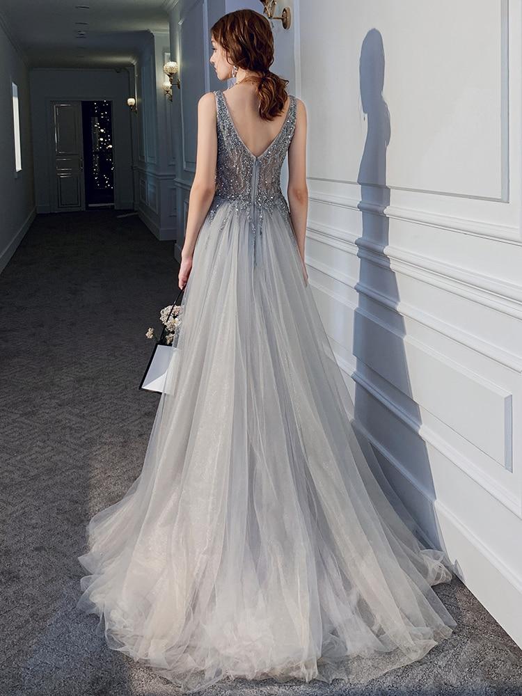 Neue Sexy Silber Grau Abendkleid Lange Abschnitt V ausschnitt Perspektive Netto Garn Stoff Handgemachte Perlen Prom Mode Königin Party Kleid - 3