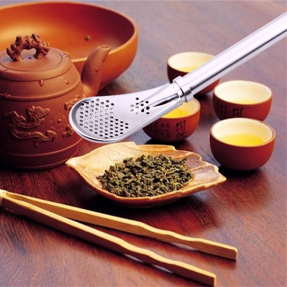 1 adet paslanmaz çelik içme saman kaşık çay filtresi Mate çay payet Bombilla kabak kullanımlık çay araçları yıkanabilir Bar aksesuarları