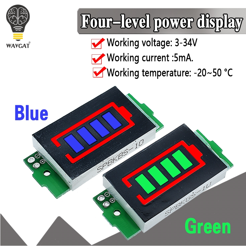 1S - 4S-8S Single 3.7V Lithium Battery Capacity Indicator Module 4.2V Blue Display Electric Vehicle Battery Power Tester Li-ion