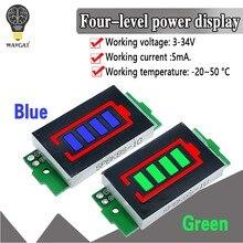 1s-4s-8s único 3.7v módulo indicador de capacidade da bateria de lítio 4.2v display azul testador de energia da bateria do veículo elétrico li-ion