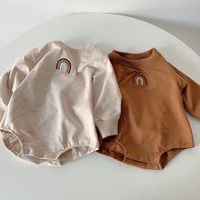 2021 осень Одежда для новорожденных мальчиков и девочек платье с радугой для маленьких боди, хлопковый топ с длинными рукавами, комбинезон дл...