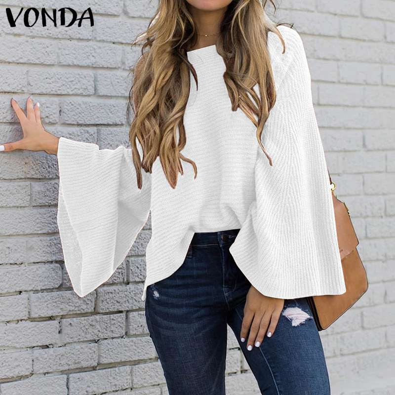 VONDA Woman Bell Sleeve Blouse And Tops 2019 Autumn Winter Loose Knitwear Pullover Shirts Plus Size Bohemian Party Blusas Tunic