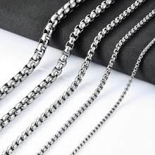 Colar feminino de aço inoxidável, colar feminino de largura 2/3/4/5/6mm, caixa redonda joias de aço inoxidável, atacado