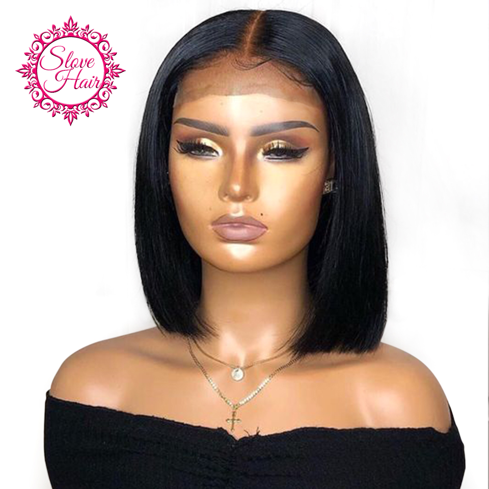 13*4 Lace Front Human Hair Wigs For Women Black Color Short Bob Wig Remy Brazilian Straight Plucked With Baby Hair Slove