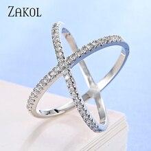 ZAKOL, винтажные кольца с крестиком и кристаллами в форме х для женщин, белый цвет, микро инкрустация, проложенный цирконием, вечерние ювелирные изделия для свиданий, подарок FSRP178