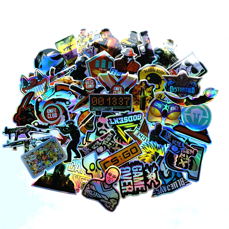 50PCS  CS GO Shooting Game Dazzle Sticker For Trolley Backpack PVC Skateboard Motorcycle Helmet Car Styling Sticker