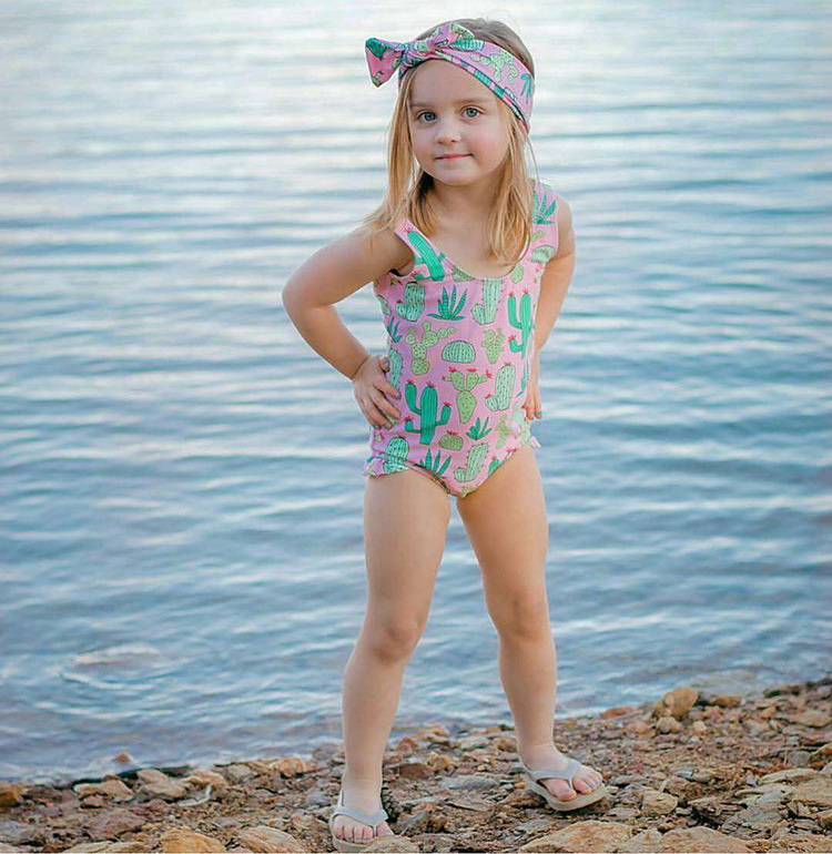 KID'S Swimwear GIRL'S Cute One-piece INS Cactus 1-3 Years Old Baby Infant Princess Tour Bathing Suit GIRL'S Swimsuit