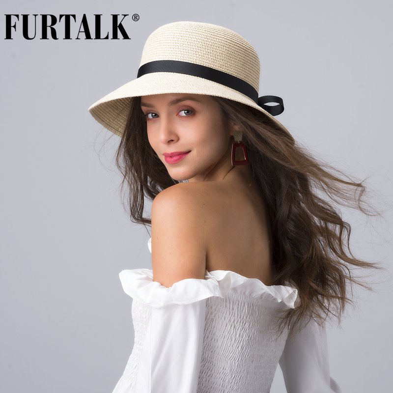 FURTALK  Summer Beach Hat For Women Straw Sun Hat