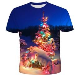2020 Elf Christmas Tree Reindeer 3D Printing Tee Top 4-14T Children's Fun T-shirt Santa Claus T-shirt Short Sleeve T-shirt