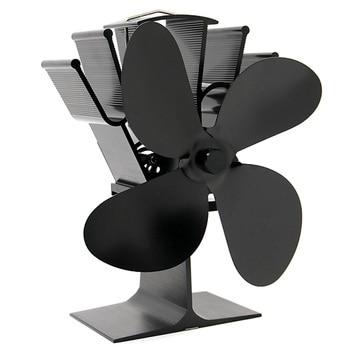 Черный маленький печной вентилятор 4 камина Дровяная Печь вентилятор для газа/гранул/дерева/дровяные печи вентилятор + термометр