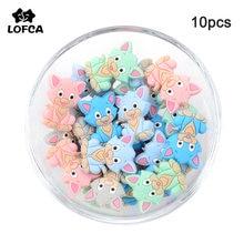 LOFCA 10 pièces chat Silicone perles sans BPA de qualité alimentaire bébé Animal silicone dentition perles jouets bébé soins sucette chaîne cadeau bricolage