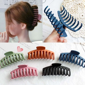 Large Size Hair Claw Clip for Women Tough Black Plastic Hair Claw Hair Clamps Claw Clip Crab for Hair Accessories Solid Color printio yellow claw blood for mercy