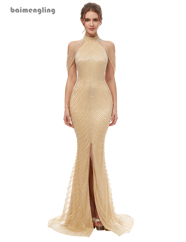 champagne evening dress, formal mermaid beaded dress with slit