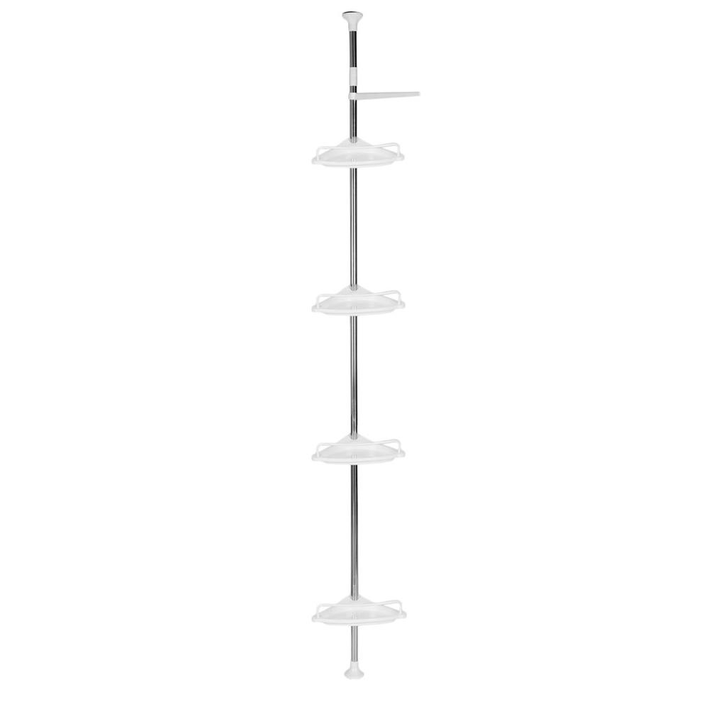 4 Layer 85-305cm Height Adjustable Telescopic Bathroom Corner Shower Shelf Rack Bath Supplies Organizer Storage Holder