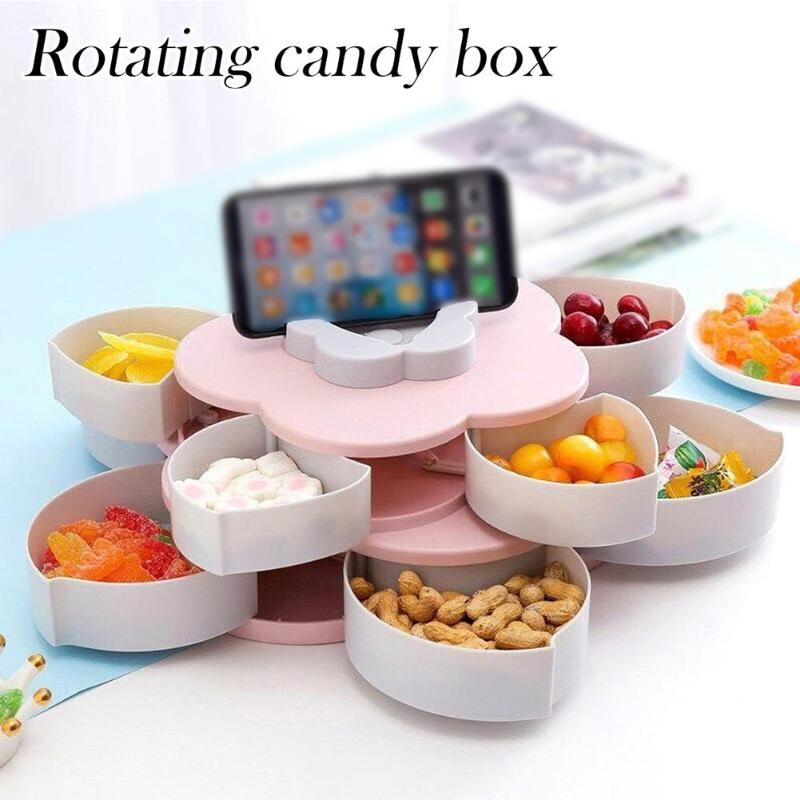 Box For Storage-Box Snack Candy-Organizer Food-Container Fruit Rotary Double-Deck Flower-Design