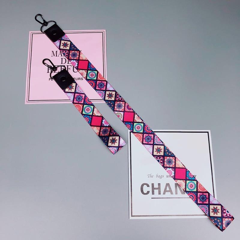 2019 Tide Plaid Bohemia Phone Strap Rope Neck Wrist Lanyards For Keys Sports ID Card Multi-function Straps Phone Holder