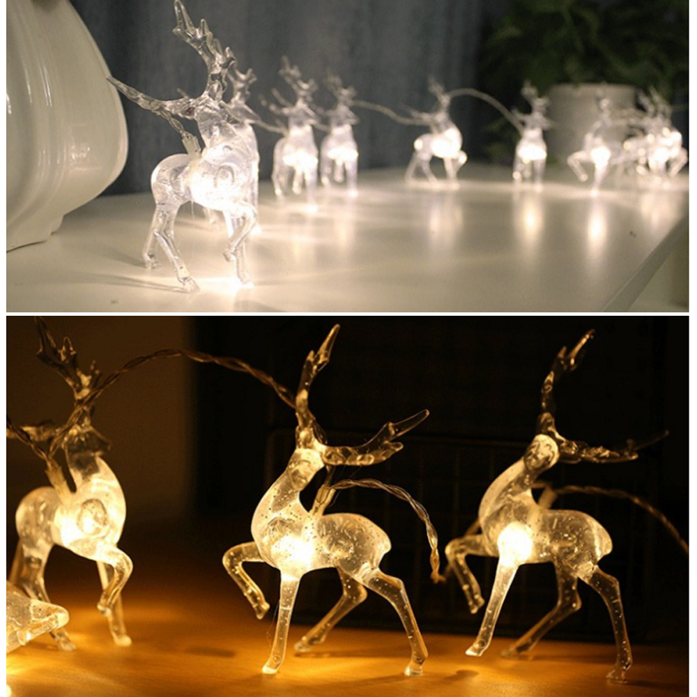New Deer LED String Light 10LED 20LED Battery Operated Reindeer Indoor Decoration for Home Holiday Festivals Outdoor Xmas Party