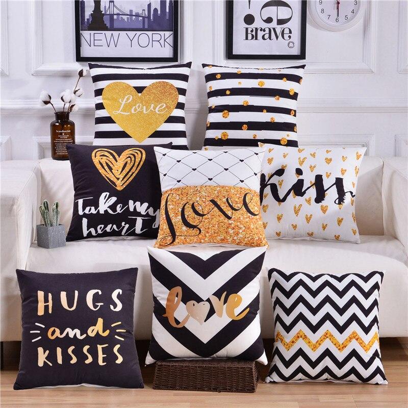 Black And White Pillow Covers Velvet Cushion Cover Throw Pillows Geometric Decorative Deer Gold Pillowcase 45x45 Home Decor