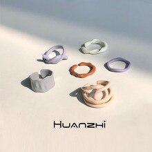 Huanzhi 2020 novo coreano minimalista individualidade irregular geométrica torção cor gotejamento esmalte anéis para mulheres meninas festa jóias